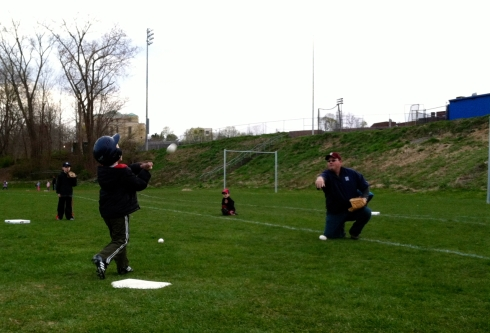 The first time hitting live pitching rather than off a tee. It was kind of a big deal.